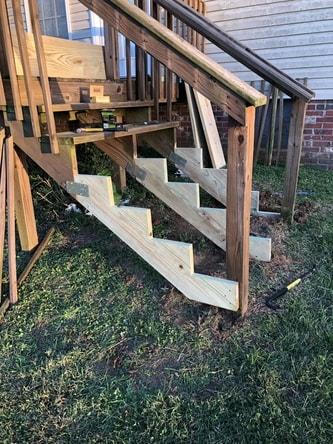 First stage of stairs rebuild involved getting the structure prepared.