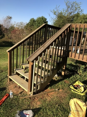 Deck stairs are complete, time for staining.